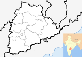 Map showing the location of Eturnagaram Wildlife Sanctuary