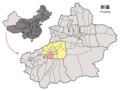 Location of Awat within Xinjiang (China).png