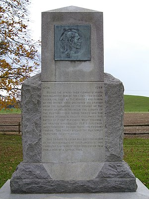 "Logan (Iroquois leader) - Monument to Logan at the Logan Elm State Memorial in Pickaway County, Ohio. The text of ""Logan's Lament"" is inscribed on the other side of the monument."