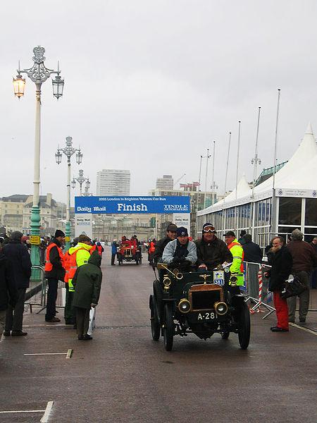 Finish line of the London to Brighton Veteran Car Run