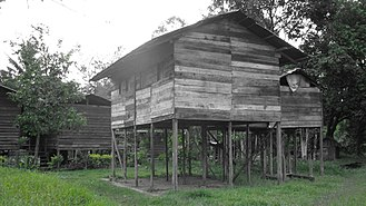 Penan people - A traditional Penan house.