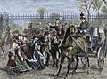 Louis Philippe and the royal family fleeing the Palace of Tuileries during the French revolution of 1848.jpg