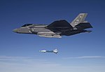 Lt. Col. George Watkins drops a GBU-12 laser-guided bomb from an F-35A Lightning II at the Utah Test and Training Range (25580005960).jpg