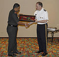Lt. Gen. Francis R. Wiercinski presents presents Lt. Gen. Anand Mohan Verma a plaque at the India-United States Executive Steering Group.jpg