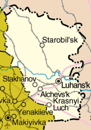 Siege of the Luhansk Border Base - Image: Luhansk oblast detail map