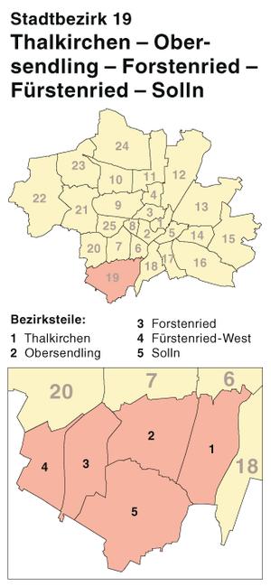 Thalkirchen-Obersendling-Forstenried-Fürstenried-Solln - 19th Borough, location within Munich