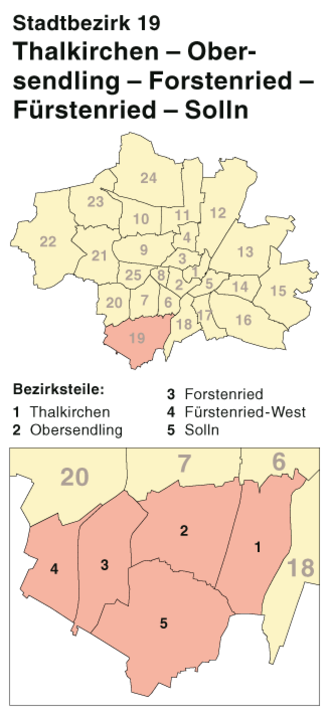 Thalkirchen-Obersendling-Forstenried-Fürstenried-Solln - 19th Borough, location within Munich