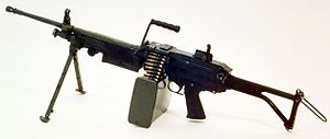 Bipod - Most squad automatic weapons, such as this FN Minimi, have a bipod to increase accuracy in full-automatic mode.