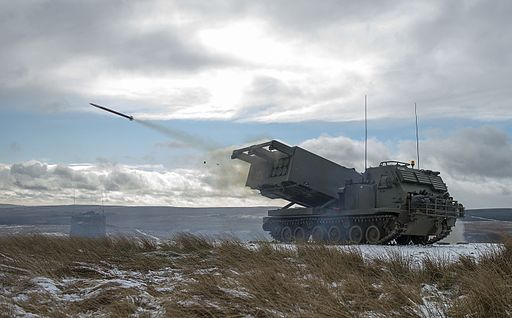 MLRS captured as a training round leaves the launch tube on the ranges at Otterburn. MOD 45158570