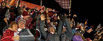 MLS Cup 2010 - Colorado Rapids fans celebrate a goal scored by the team in the final.