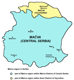 Map of the Mačva region