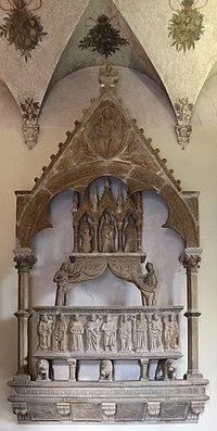 Maestro toscano, mausoleo di franchino rusca, da s. francesco a como, 1350 ca. 01.JPG