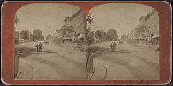 Main Street in Le Roy looking west, from Robert N. Dennis collection of stereoscopic views