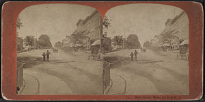Le Roy, New York - Main Street in Le Roy looking west, from Robert N. Dennis collection of stereoscopic views