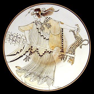 Maenad - Furious Maenad, carrying a thyrsus and a leopard, with a snake rolled up over her head. Tondo of an Ancient Greek Attic white-ground kylix 490–480 BC from Vulci. Staatliche Antikensammlungen, Munich, Germany