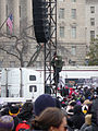 Man climbing down after fixing the sound system Inauguration 2013.jpg
