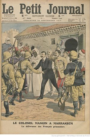 Battle of Sidi Bou Othman - Image: Mangin recovers French prisoners at Marrakesh (1912, Le Petit Journal)