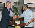 Manohar Parrikar and the Spanish Defence Minister, Mr. Pedro Morenes Eulate exchanging the signed agreements on Mutual Protection of Classified Information to provide the framework for enhanced cooperation between the two.jpg