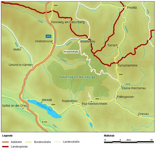 Map  Nationalpark Nockberge Karte