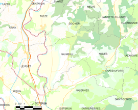 Mapa obce Vaumeilh