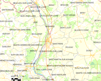 Map of the commune of Cosne-Cours-sur-Loire