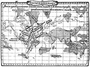 Atlantis - Map of Atlantis according to William Scott-Elliott (The Story of Atlantis, Russian edition, 1910)