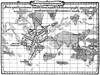 Atlantis - Map of Atlantis according to William Scott-Elliott (The Story of Atlantis, Russian edition, 1910)