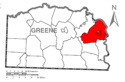 Location of Cumberland Township in Greene County