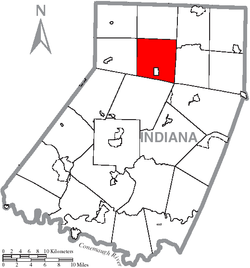 Map of Indiana County, Pennsylvania Highlighting East Mahoning Township