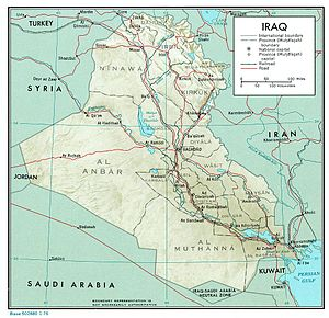 1971 Iraq poison grain disaster - A map of Iraq (1976) showing the provinces referred to.