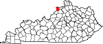 State map highlighting Trimble County