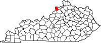 Locatie van Trimble County in Kentucky