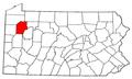 Map of Pennsylvania highlighting Venango County.png