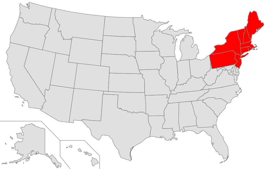Map of USA highlighting Northeast