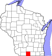Map of Wisconsin highlighting Green County.svg