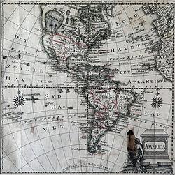 แผนที่ทวีปอเมริกาโดย Jonghe. Ca. พ.ศ. 2313