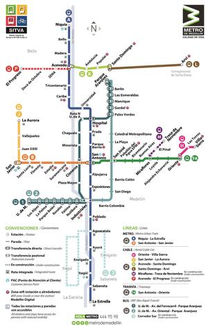 Santo Domingo Metro Map.Medellin Metro Wikipedia