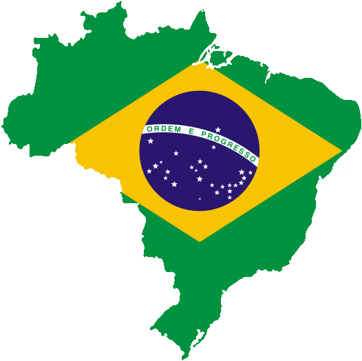Mapa do Brasil com a Bandeira Nacional