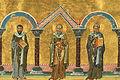Marcellus, Bishop of Sicily, Pancratius, Bishop of Taormina, and Philagrius, Bishop of Cyprus (Menologion of Basil II).jpeg