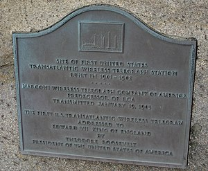 Marconi Wireless Telegraph Company of America - Plaque marking the site of a high-powered station established by American Marconi at South Wellfleet, Cape Cod, Massachusetts in 1901-1902