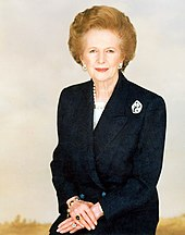 half-length portrait of Margaret Thatcher