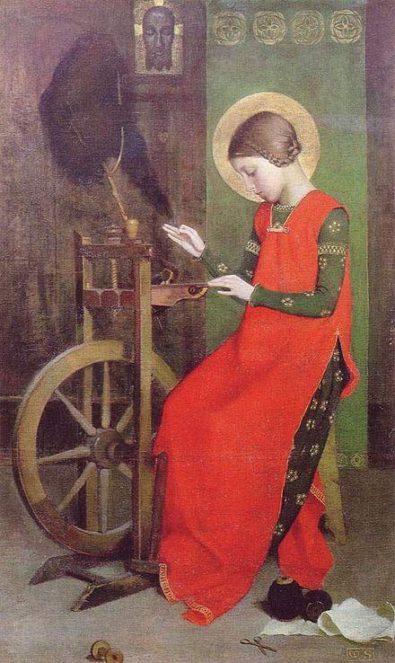Santa Isabel de Hungría hilando para los pobres, imagen del tipo de rueca de tipo castillo.