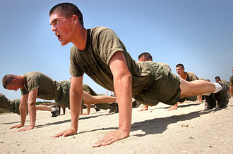 Push-up - Military recruits will often perform push-ups as part of their physical training. Here, U.S. Marine recruits at Marine Corps Recruit Depot San Diego perform push-ups in May 2005, as a part of their basic recruit training.