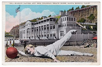 Annenberg Community Beach House - Postcard of Marion Davies in front of the Beach House