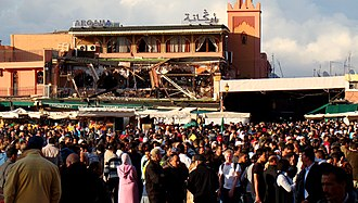 2011 Marrakesh bombing - Djemaa el Fna on the day after the bombing