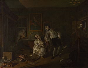 Bagnio - The Bagnio (1743), fifth in the Marriage à-la-mode series of satirical paintings by William Hogarth: The Earl catches his wife in the Turk's Head bagnio with her lover, who makes his escape through the window.
