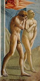 A fresco showing Adam and Eve leaving the garden of Eden. Adam's weeps into his hands and Eve throws her head back to wail, while trying to cover her naked body. The style is broadly painted with realistic gestures and emotion.