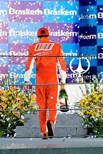 2008 Brazilian Grand Prix - Massa on the podium after the race