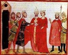 Manuscript illumination of Isabella II, Frederick II and several other people