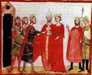 John of Brienne - Marriage of John's daughter, Isabella II of Jerusalem, and the Holy Roman Emperor Frederick II in 1225 (from Giovanni Villani's Nuova Cronica)